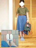 Asuさんの「Forest Green-Ox Red Kanken Mini Backpack(Fjallraven Kanken|フェールラーベンカンケン)」を使ったコーディネート