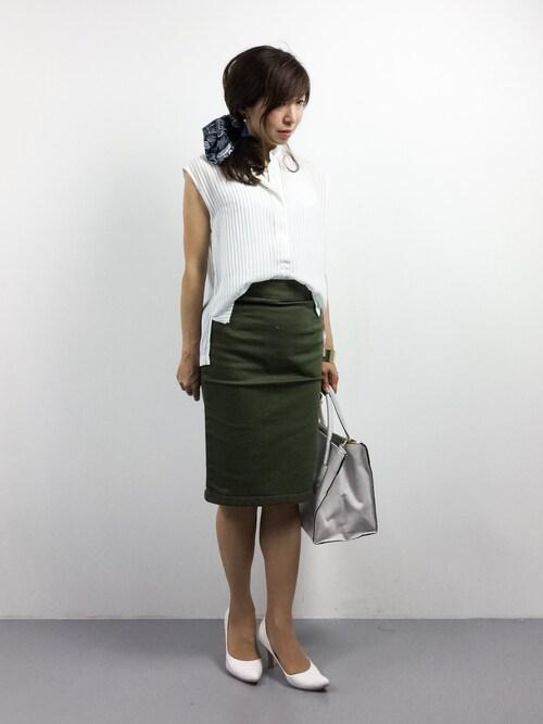 RINAさんの「【OKIRAKU/オキラクxLESSAGE】 WAVEY COLLARLESS ブラウス#(journal standard L'essage)」を使ったコーディネート
