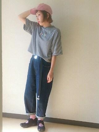 いうちんさんの「WEGO/ワイドスリーブ刺繍Tシャツ(WEGO ウィゴー)」を使ったコーディネート