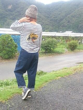 いうちんさんの「【予約】TAILOR TOYO×BEAMS BOY / スカ刺繍 バスクシャツ(BEAMS BOY|ビームスボーイ)」を使ったコーディネート