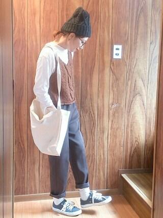 いうちんさんの「Tシャツ、ニットベストセット(Kastane|カスタネ)」を使ったコーディネート