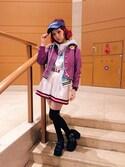 瀬戸あゆみさんの「【Zipper春号掲載】SUN VISOR(X-girl|エックスガール)」を使ったコーディネート