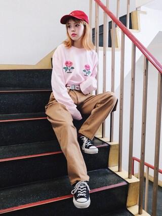 瀬戸あゆみさんの「DINER ROSE BIG Tシャツ(Aymmy in the batty girls|エイミー インザ バッティー ガール)」を使ったコーディネート