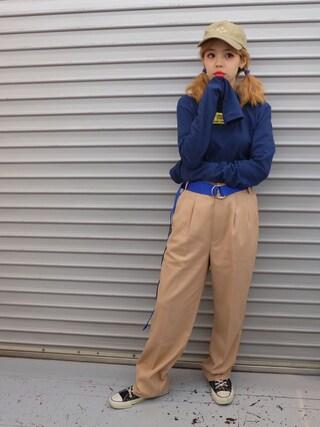 瀬戸あゆみさんの「SLOTH ベリーロングスリーブカットソー(Aymmy in the batty girls|エイミー インザ バッティー ガール)」を使ったコーディネート