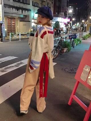 瀬戸あゆみさんの「モヘヤセーター(MILKBOY|ミルクボーイ)」を使ったコーディネート