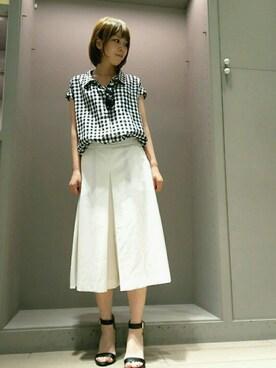 Rouge vif  la cle天王寺ミオ|norikoさんの「フレンチ袖リネンシャツ(Rouge vif)」を使ったコーディネート