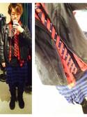 「Alexander McQueen Skull-print silk-chiffon scarf(Alexander McQueen)」 using this たけなか looks