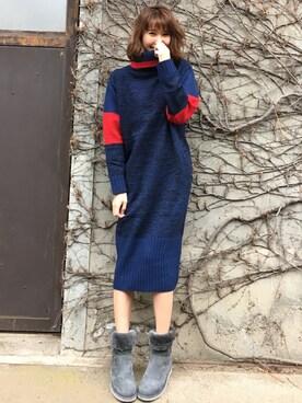 美優さんの「BEAR KNIT DRESS(Ameri)」を使ったコーディネート