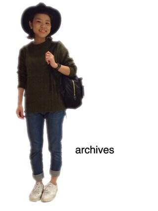 archives|archivesさんの「ナイロンリュック(archives|アルシーヴ)」を使ったコーディネート