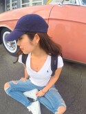 「Ralph Lauren Girls' Solid V-Neck Tee(Ralph Lauren)」 using this Azusa.A looks