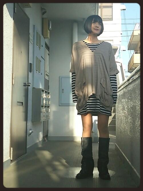 nikaさんの「BASIC L/S DRESS(X-girl)」を使ったコーディネート
