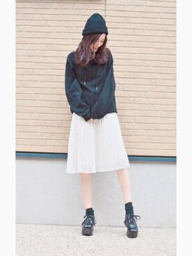 前田希美さんの「カラーリブニット帽(ACC)」を使ったコーディネート