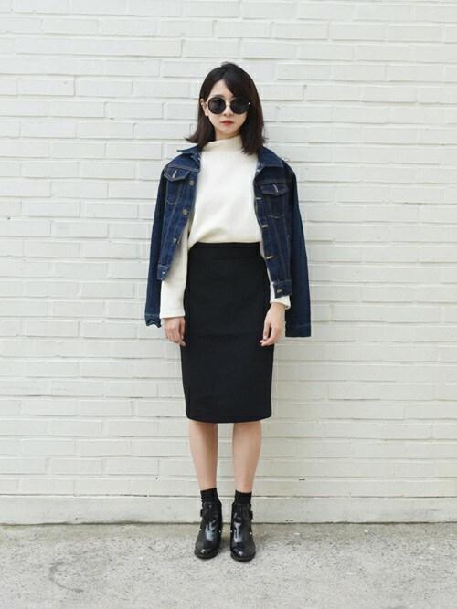 jiyoung kimさんの「Hラインミディアム丈スカート(yellow)」を使ったコーディネート