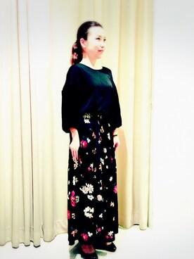 actuel アクア広島店|asakoさんの「FLOWERワイドパンツ(actuel)」を使ったコーディネート