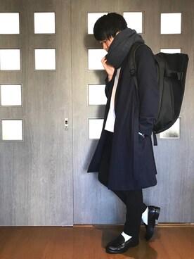 やぎぺー@ユニクロコーデさんの「ウールワッシャーベルテッドコート(ABAHOUSE)」を使ったコーディネート