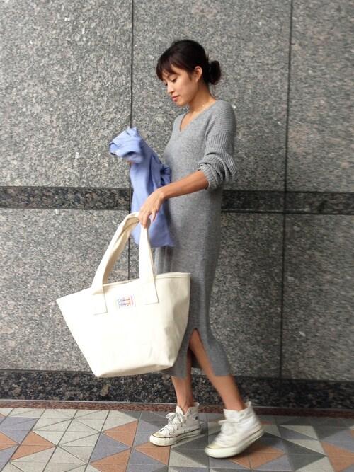 wakuwaku_staffさんの「ハンドメイド1号帆布バケットトートバッグ(キナリ/キャンバス)(Handmade)」を使ったコーディネート