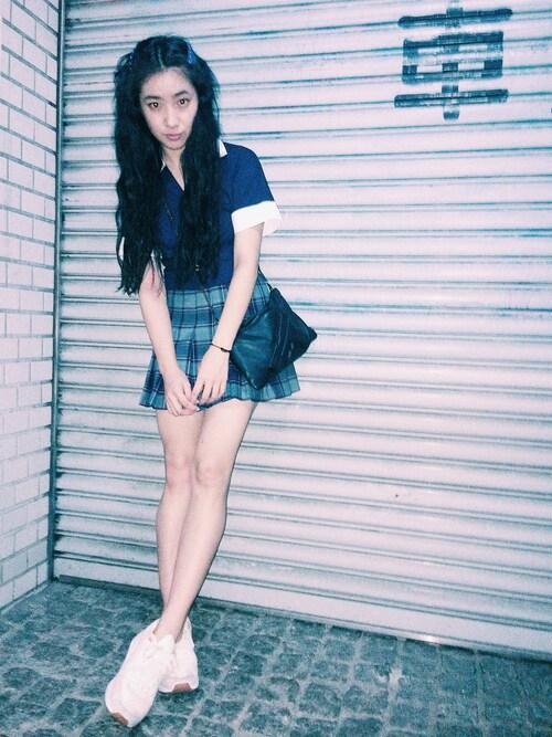 中田クルミさんの「American Apparelスカート(American Apparel)」を使ったコーディネート