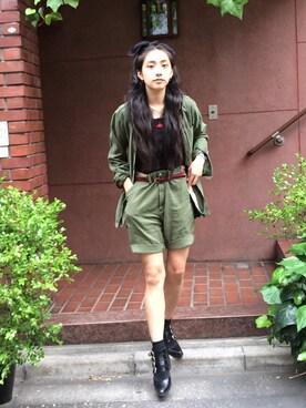 中田クルミさんの「TOGA Emboss buckle boots(MIDWEST)」を使ったコーディネート