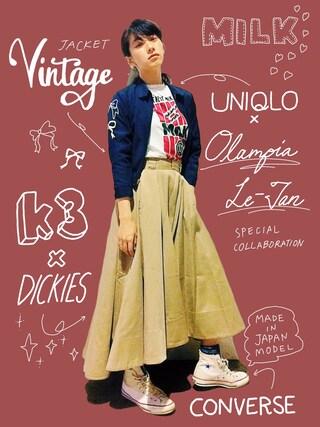 中田クルミさんの「Dickies×k3&co. Flare Skirt(k3&co|ケイスリーアンドコ)」を使ったコーディネート