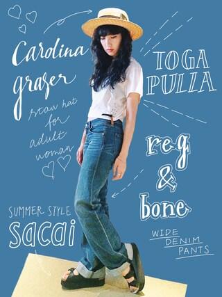 中田クルミさんの「<TOGA>CONCHO TEE-united LOVE project2016 †(TOGA PULLA|トーガ プルラ)」を使ったコーディネート