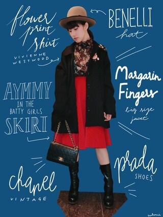 中田クルミさんの「WAFFLE キルティングスカート(Aymmy in the batty girls|エイミー インザ バッティー ガール)」を使ったコーディネート