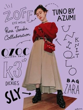 中田クルミさんの「ダブルバックルベルト(OZOC|オゾック)」を使ったコーディネート