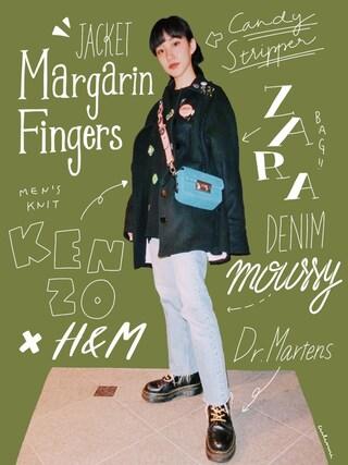 中田クルミさんの「MARGARIN FINGERS CAPE COAT(margarin fingers|マーガリンフィンガース)」を使ったコーディネート