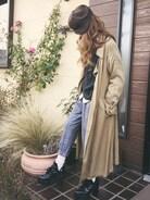 清水夏姫さんの「ゆるタックパンツ(OZOC|オゾック)」を使ったコーディネート