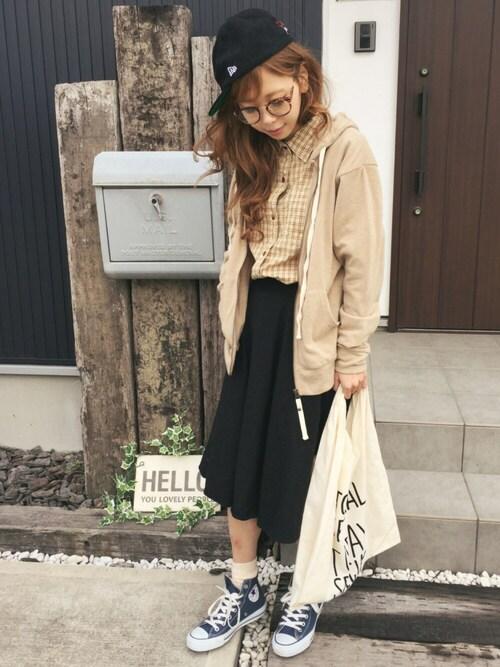 清水夏姫さんの「起毛フレアミディスカート(OZOC)」を使ったコーディネート