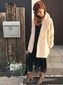 清水夏姫さんの「スエード調2連チョーカーネックレス(OZOC オゾック)」を使ったコーディネート