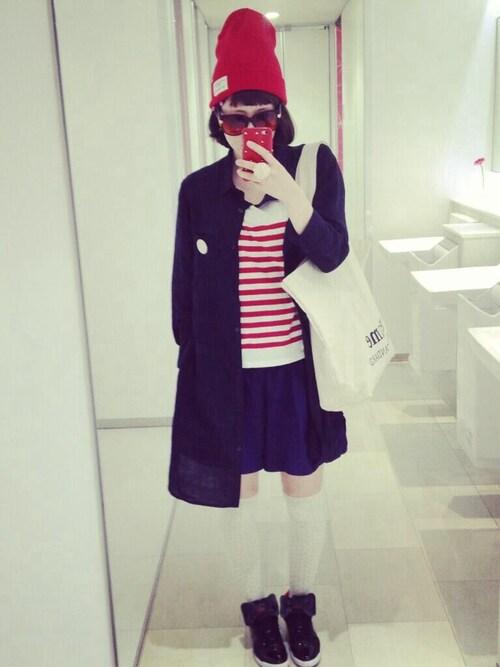 Kisaさんの「ニット帽:赤色バージョン」を使ったコーディネート