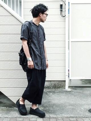 ひろむさんの「MEN リネンコットンスタンドカラーシャツ(半袖)(ユニクロ|ユニクロ)」を使ったコーディネート