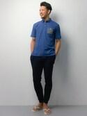 ryoma nagaokaさんの「ボーダーポケット切り替えスラブポロシャツ(NAVAL|ナバル)」を使ったコーディネート
