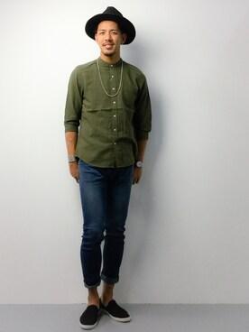 ZOZOTOWN|ryoma nagaokaさんの「スラブリネンバンドカラーシャツ7分袖/718601(RAGEBLUE)」を使ったコーディネート