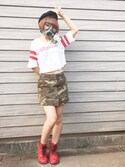 「FOREVER 21 Camo Print Mini Skirt(Forever 21)」 using this らんまる ぽむぽむタイプアルファ looks