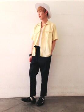 HARE札幌ステラプレイス|藤森大輝さんの「サテンオープンネックシャツ(HARE|ハレ)」を使ったコーディネート