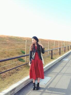 秦まり子さんの「beautiful people×MIDWEST 【別注】ライダースジャケット(beautiful people)」を使ったコーディネート