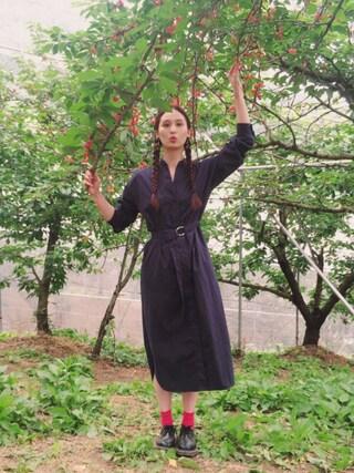 秦まり子さんの「【WOMEN】◆ViVi11月号掲載◆コットンブレンド無地ソックス(靴下屋|クツシタヤ)」を使ったコーディネート