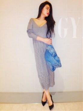 GYDA名古屋丸栄店|木村恵里香さんの「スラブニットワンピース(GYDA|ジェイダ)」を使ったコーディネート