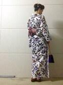 Nanaさんの「【高垣麗子×C.R.E.A.M】藍南天文8点セット浴衣(C.R.E.A.M クリーム)」を使ったコーディネート