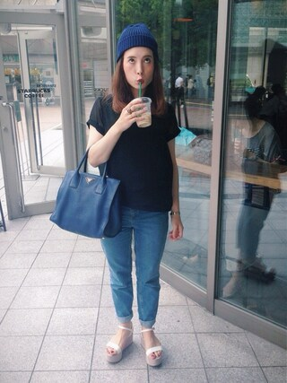 「MOTO BLUE MOM JEANS(TOPSHOP)」 using this emilykeiholden looks
