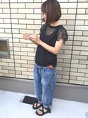 ちまぷりこさんの「レモン刺しゅう 前ヨーク袖刺しゅうTシャツ(peu pres|プープレ)」を使ったコーディネート