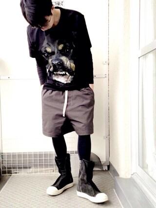 MASHASHEさんの「Givenchy Cuban-Fit Rottweiler-Print Cotton T-Shirt(Givenchy|ジバンシイ ジバンシー)」を使ったコーディネート