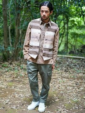 goa|goa-snapさんの「ライトスエードシャツジャケット(goa)」を使ったコーディネート