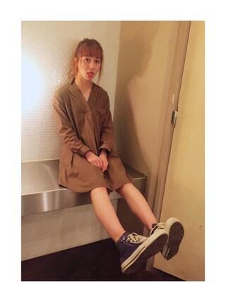 岡田ロビン翔子さんの「シャツワンピース(Lily Brown|リリー ブラウン)」を使ったコーディネート