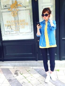 LACOSTE 三宮店|SENA YASUEDAさんの「テンセルデニム シャツ(LACOSTE)」を使ったコーディネート