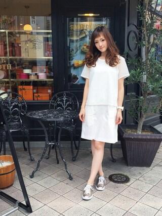 「メッシュパネル コットンドレス (半袖)(LACOSTE)」 using this LACOSTE 三宮店 SENA YASUEDA looks