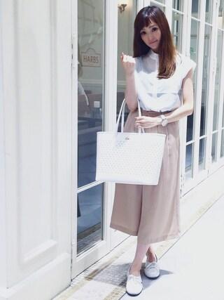 「ドロップ ショルダー ブラウス(LACOSTE)」 using this LACOSTE 三宮店 SENA YASUEDA looks