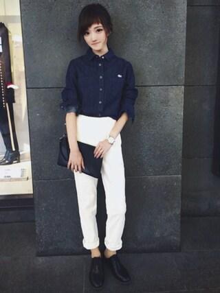 「スリムフィットデニムシャツ(LACOSTE L!VE)」 using this LACOSTE 三宮店 SENA YASUEDA looks