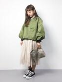 りっぴーさんの「シフォンプリーツ スカート(CHILD WOMAN|チャイルドウーマン)」を使ったコーディネート